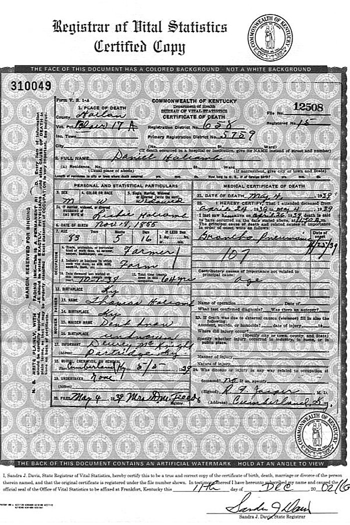 Death Certificates Harlan Co Ky